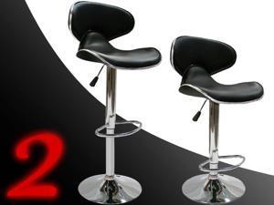 SET of ((2)) Bar Stools Leather Modern Hydraulic Swivel Dinning Chair Barstools