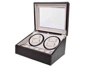 Leather Automatic Rotation 4+6 Watch Winder Storage Case Display Box Brown