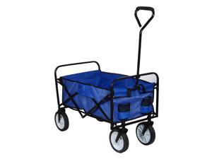 Folding Utility Wagon Collapsible Garden Cart Shopping Beach Toy Sports Cart Blue