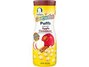 Gerber Graduates Puffs Cereal Snack Apple Cinnamon, Naturally Flavored with