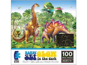 Ceaco Ready Set Glow in the Dark Jigsaw Puzzle 100-P - Land of the Dinosaurs