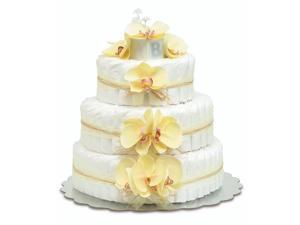 Bloomers Baby Diaper Cake-Hawaiian Yellow Orchids with Yellow Tulle & Raffia