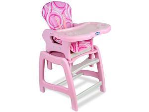 Badger Basket Envee Baby High Chair with Playtable Conversion - Pink/White
