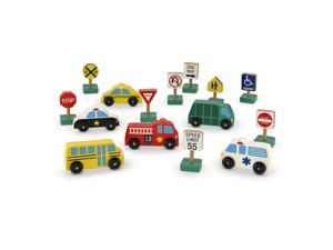 Melissa & Doug Wooden Vehicles and Traffic Signs Play Set