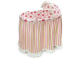 Badger Basket Embrace Baby Bassinet with Bedding Set - Stripes/Flowers