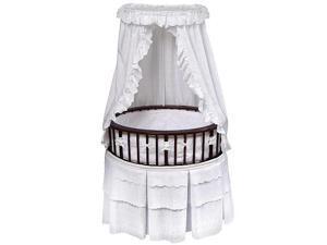 Badger Basket Cherry Elite Oval Bassinet - White Eyelet Bedding
