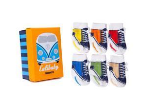 Trumpette Boys 6 Pack CaliBaby's High Top Sneaker Socks-0-12 Months