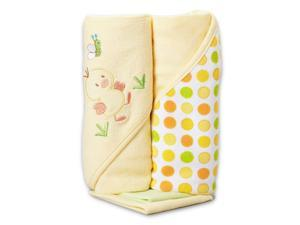 SpaSilk 2 Pack Hooded Towel Set with 2 Washcloths - Yellow Duck