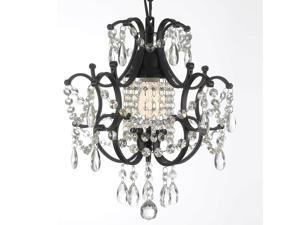 Gallery Wrought Iron and Crystal Chandelier