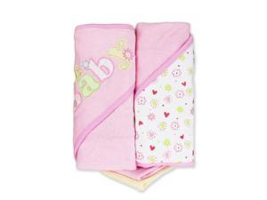 "SpaSilk 2 Pack Hooded Towel Set with 2 Washcloths - Pink ""Baby"""