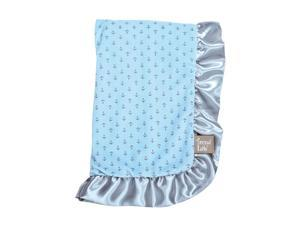 Trend Lab Blue Anchors Velour/Satin Receiving Blanket