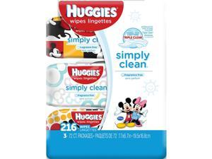 Huggies Simply Clean Baby Wipes, Unscented, Soft Pack, 216ct