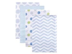 Luvable Friends 4 Pack Flannel Receiving Blankets - Blue Chevron