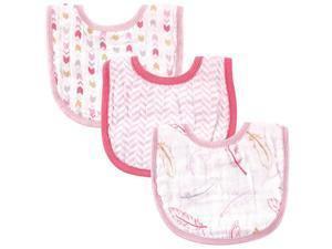 Hudson Baby 3 Pack Muslin Bibs - Pink Feathers