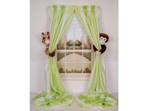 Curtain Critters Curtain Tieback - Set of 2 - Plush Giraffe and Monkey