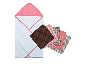 Trend Lab 6pc Cocoa Coral Dot Hooded Towel and Wash Cloth Bouquet Set