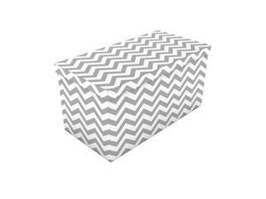 "15"" x 30"" Storage Ottoman with Thick Chevron Pattern - Moon Mist"