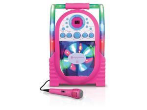 Portable CDG Karaoke System with Disco Light Feature in Pink