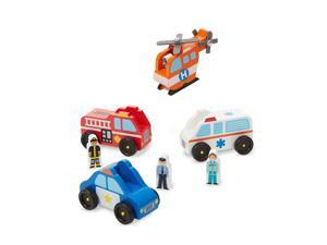 Melissa & Doug Wooden Emergency Vehicle Set