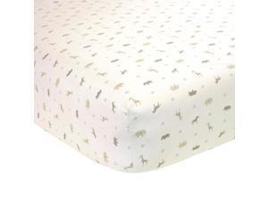 Carters Printed Crib Sheet in a Neutral Safari Print