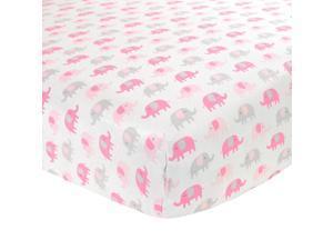 Carter's Sateen Pink & Grey Elephant Crib Sheet