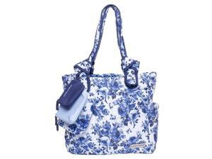 Laura Ashley Quilted Tote Diaper Bag - Blue Floral