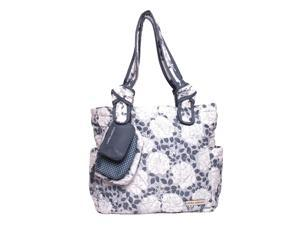 Laura Ashley 4 Piece Tote Diaper Bag - Gray Floral