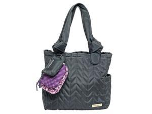 Laura Ashley 6 Piece Quilted Tote Diaper Bag - Gray