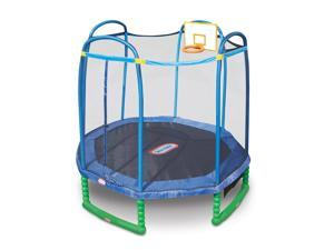 Little Tikes 10 Foot Sports Trampoline with Enclosure and Basketball Hoop