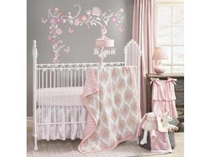 Lambs & Ivy Pink/Gray Happi Charlotte Floral 4 Piece Crib Bedding Set