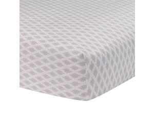 Lambs & Ivy Happi Pink/White Charlotte Diamond Fitted Crib Sheet