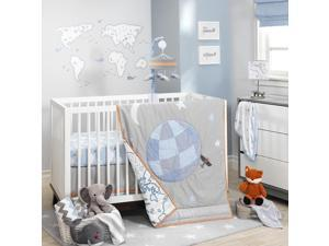 Lambs & Ivy Silver Cloud Gray/Blue Aviation 3 Piece Crib Bedding Set