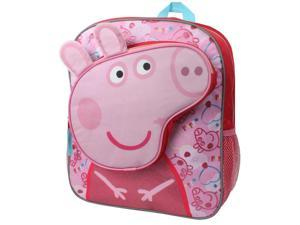 Nick Jr. Peppa Pig Headed 14 inch Backpack with Side Mesh Pockets