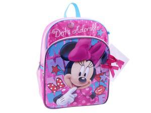 "Disney Minnie Mouse ""Dots Adorable"" 14 Inch Backpack with Bonus Hair Bows"