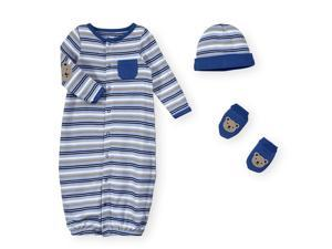 Koala Baby Boys 3 Piece Blue/Grey/White Long Sleeve Striped Gown with Teddy Be