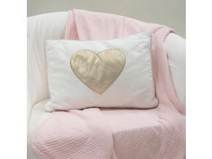 Lambs & Ivy Dawn Collection White/Gold Heart Decorative Pillow