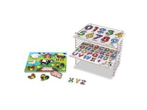 Melissa & Doug Puzzle Rack with 3 Peg Puzzles