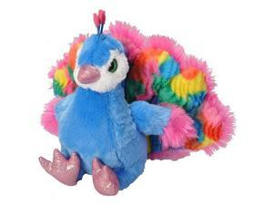 Wild Republic 5.5 Inch Stuffed Trendy Peacock - Blue and Pink