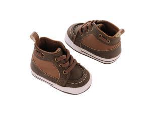 Carter's Boys Brown Lace Up Soft Sole Boat Shoes 9-12 MONTHS