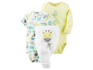 Carter's Neutral 3 Piece Yellow Striped & Animal Printed Bodysuits wi 24 MONTHS