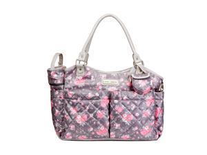 Laura Ashley 6-in-1 Floral Tote Diaper Bag - Gray
