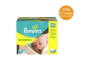 Pampers Swaddlers Size 1 Diapers Economy Plus Pack - 216 Count