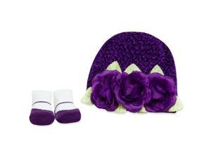 Baby Essentials Crochet Hat and Sock Set - Purple