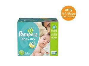 Pampers Baby Dry Diapers Size 1 Economy Plus Pack - 252 Count - $0.18/Ea.