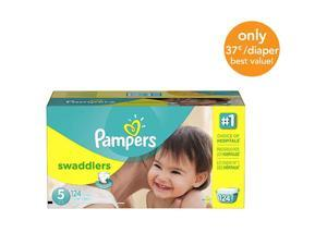 Pampers Swaddlers Size 5 Diapers Economy Plus Pack - 124 Count - $0.37/Ea.