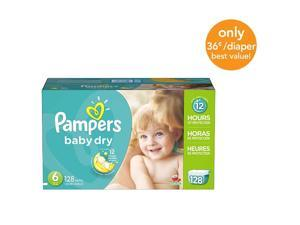 Pampers Baby Dry Size 6 Diapers Economy Plus Pack - 128 Count - $0.36/Ea.