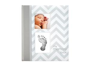 "Pearhead Gray Chevron Baby Book with ""Clean-Touch"" Ink Pad"