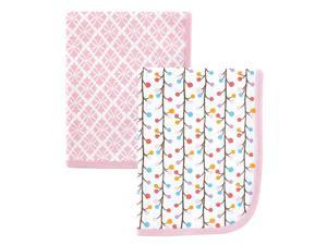 Hudson Baby 2 Pack Swaddle Blankets - Pink Budding Branches Print