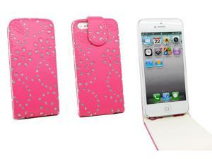 Kit Me Out USA PU Leather Flip Case for Apple iPhone 5/ 5S - Hot Pink Sparkling Glitter Design
