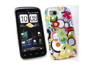 Kit Me Out USA Plastic Clip-on Case for HTC Sensation / Sensation XE - Circles And Flowers